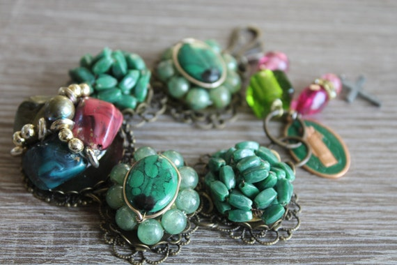 BRACELET, Christmas Gift, St. Patrick, green pearl vintage cluster Earrings Bracelet,  Green Enamel earrings, vintage assemblage, repurposed