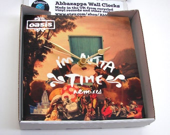 """OASIS Vinyl Record Sleeve CLOCK """"I'm Outta Time"""" made from a recycled 7"""" single Sleeve, gallagher brothers, noel, liam, gift for men women"""