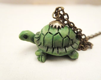 Turtle  necklace - green turtle pendant-blue turtle RING - blue  turtle necklace  - Turquoise Jewelry -Adjustable Ring