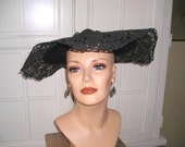 """Reserved for Janet,40's 50's black lace picture hat, 18"""" in diameter, Hollywood look, garden party hat, open crown, """"lovely to look at!"""""""