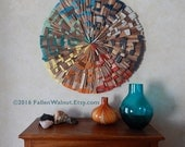 Mid Century Inspired Color Wheel Walnut Wood Art, Handmade READY to SHIP