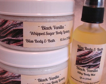 SET of 3 BLACK VANILLA Handmade Whipped Cream Body Butter Handmade Whipped Sugar Scrub Silk Body Mist Chemical Free All Natural Full Size