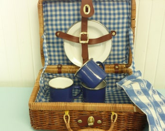 Children's Dishes in Case, Vintage Woven Picnic Suitcase w/ Blue Enamelware Plates & Cups, Picnic Checked Tablecloth