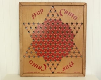 Vintage Wooden Chinese Checkers Board, Hop Ching, Dark Red Paint, Made in USA - Collectible Game