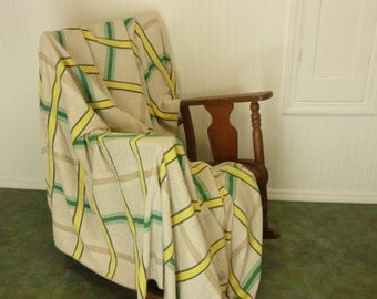 NICE LARGE Vintage Camp Blanket Bedspread, Likely Bates, Green & Yellow Plaid Woven Cotton, Cabin, Adirondack, Camping Bedspread