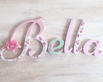 Girl's Room Letters Floral - Baby Girl's Nursery Letters - Girl's Room Decor - Custom Wood Letters - Nursery Name Letters - Price Per Letter
