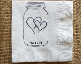 Rustic Wedding Napkins, Personalized Mason Jar Napkins,Cocktail Napkin,set of 25, hand stamped date and monogram,Rush Order Available