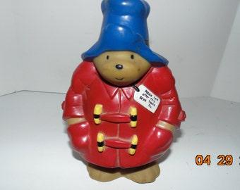Vintage Paddington bear plastic piggy coin bank 1995