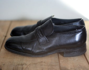 vintage black leather slip on casual shoes mens size 9.5