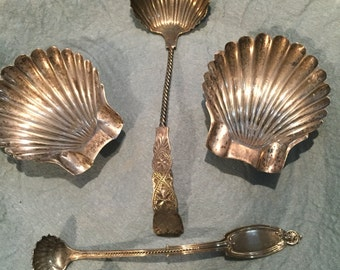 Sunday Special/Assortment Sterling Silver Shell Spoons And Accessories/Dinner Party/Wedding Gift