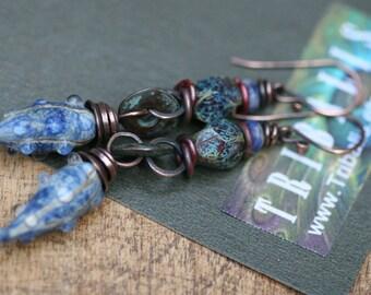 Rustic Blue * Organic Forms Series * earrings 169- artisan lamp work pods . earthy jewelry . bohemian jewelry . blue textural lamp work pods