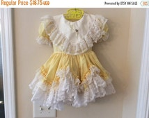 Sale Size 18 - 24 months Vintage Girl Yellow Frilly Ruffle Lace Dress - Spring - Easter - Birthday Party - Photo Prop - Wedding - Summer
