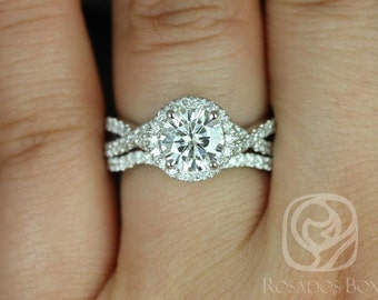 Gabi 7mm 14kt White Gold Round F1- Moissanite & Diamond Twist Halo Wedding Set (Other metals and stone options available)