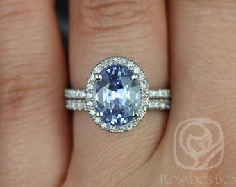 Chantelle 3.33cts 14kt White Gold Oval Icy Lilac Sapphire and Diamond Halo Wedding Set