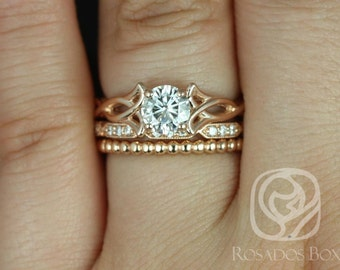 Rosados Box Orla 6mm, Stella, & Bdha Bds 14kt Rose Gold Round F1- Moissanite and Diamonds Celtic Knot TRIO Wedding Set