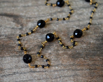 Long Black Spinel Rosary Chain Necklace with Faceted Onyx stations Single or Double Strand