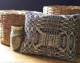 No. 47  Decorative Pillow, Green Street Antique Woven Coverlet