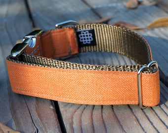 Orange Herringbone, Soft Dog Collar, Autumn Dog Collar, Fall, Orange, Adjustable, Metal Buckle