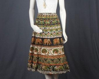 Wrap skirt maxi cotton green cream Indian print ethnic bohemian hippie gypsy women S M small medium
