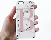 Minimal marble phone case with light pink alphabet letter - iPhone 7 Plus, iPhone 7, Samsung Galaxy S6, iPhone SE