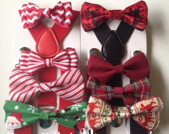 Toddler Bow tie and Suspenders Toddler Bows Baby Bowtie Suspenders for boys bow ties Father son matching bowties Holiday bow tie Suspenders