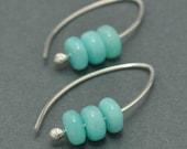 Sterling Silver Hoops, Amazonite, Gemstone Earrings, Gemstone Hoops, 20 gauge, Ear wire, Blue Gemstone