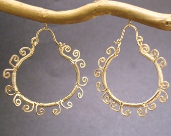 Hammered hoops with filigree Nouveau 49