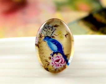 8pcs (10x14mm\13x18mm) 4pcs (18x25mm) 2pcs (20x30mm\30x40mm) Handmade Oval Photo Glass Cabs Cabochons--Lovely Bird