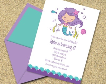 INSTANT DOWNLOAD, Mermaid Birthday, 5 x 7 Printable Invitation, You Edit Yourself in Adobe Reader