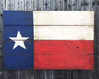 Rustic Texas Flag Wall Art, Distressed Lone Star State Decor