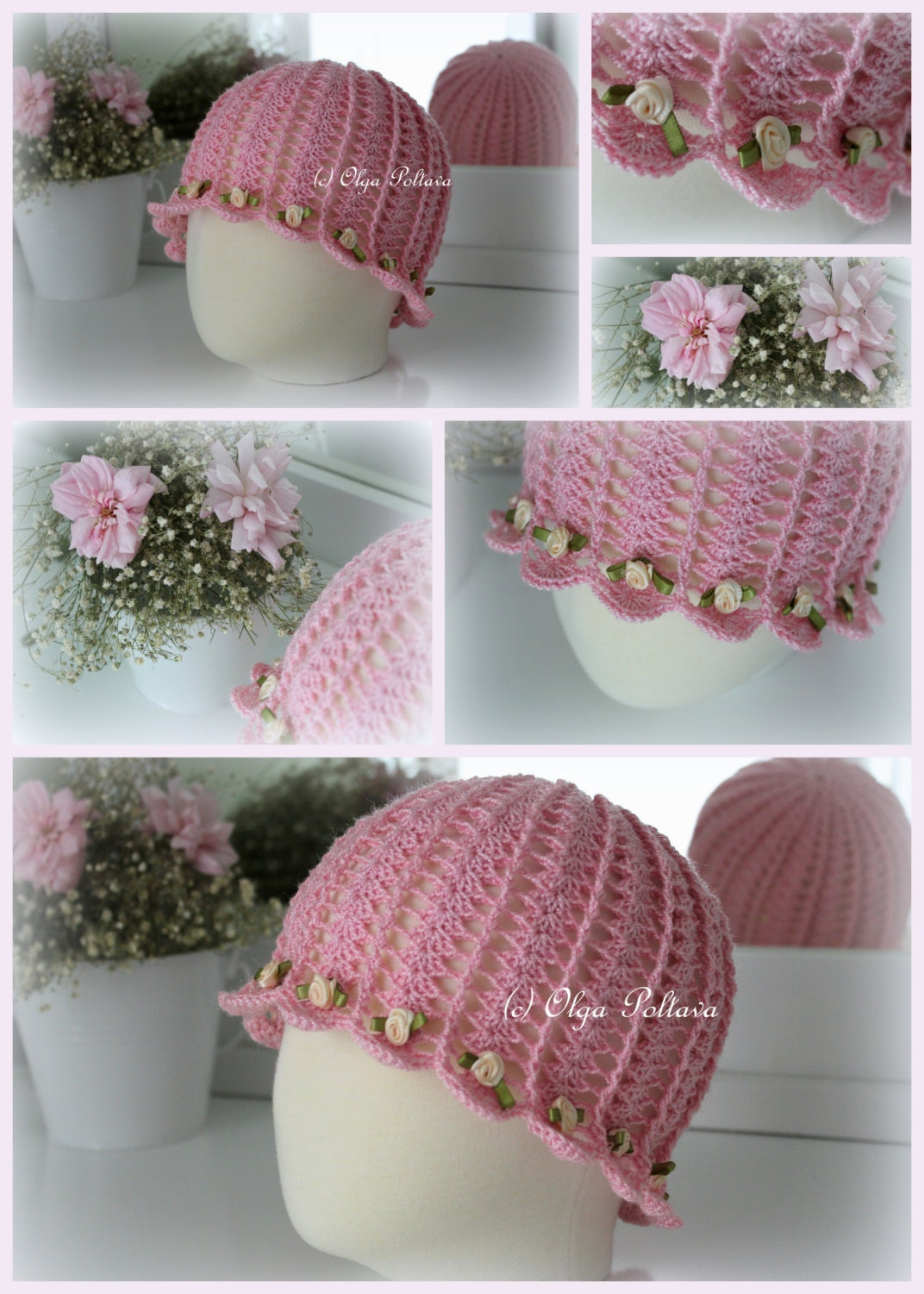 Crochet Summer Hat Pattern Shells And Roses By