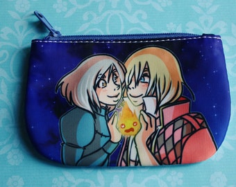 Howl Sophie Calcifer (Howl's Moving Castle) Ghibli one sided coin purse