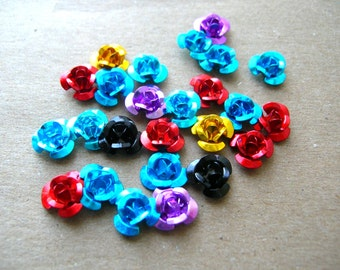 Day of the Dead Roses - Mini Altar Roses - Colorful Roses - Metal Rose Lot - Tiny Metal Roses