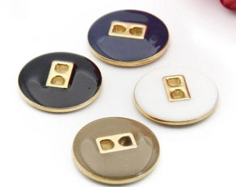 6 pcs 0.59~0.98 inch High-grade Black/Navy/White/Brown+Gold 2 Hole Plastic Shell Buttons for Suits Coats