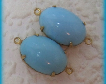 Turquoise Smooth Glass Oval 18mm 1 Ring or 21mm 2 Ring Brass Setting Connector
