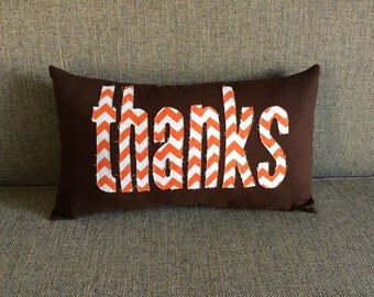 "Fall Thanksgiving pillow in brown with orange chevron ""thanks""  - Fall Thanksgiving Pillow"