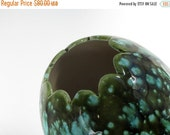 ON SALE Vintage Mid Century Enchanto Vase / California Art Pottery / Turquoise / Avocado Green
