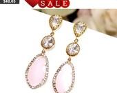 Blush Pink Earrings ,Pink Opal Gold Wedding Earrings, Bridemaid Gift, Pink Post Earrings, Pink Dngle, Drop, Girlfriend Wife Mom Sister Gifts