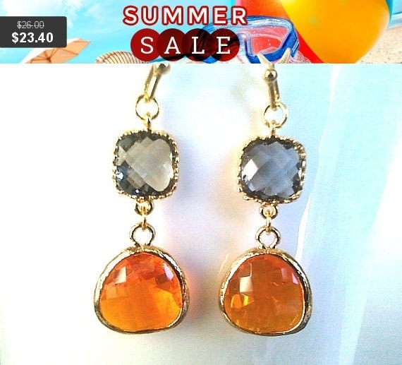 Orange Earrings, Gray Earrings, Gold Drop, Dangle Earrings, bridesmaid gifts,Wedding Jewelry, Bridal Earrings, Gift for Her, Gemstone, GIFT