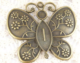 Extra Large Flower Filigree Butterfly Pendant (1)