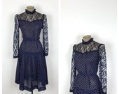 Blue and White Polkadot Day Dress • 70s Long Sleeve Polka Dot and Lace Drop Waist Dress • Large