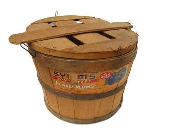 vintage basket, fruit bushel basket, Symm's, plums, Caldwell Idaho, 1950's