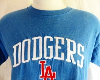 vintage 80's 90's Los Angeles L.A. Dodgers MLB baseball blue graphic t-shirt red white embroidered logo crew neck made in usa  logo 7 large