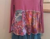 Upcycled clothing,L-XXL.repurposed clothing/boho dress/junk gypsy dress/tunic/ragandbone inspired/lagenlook dress/mori girl top/prairie