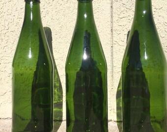 3 Green Wine bottles, wine glass bottle, green ,arts and crafts wine, home, kitchen decor, wine vase, bottle centerpieces