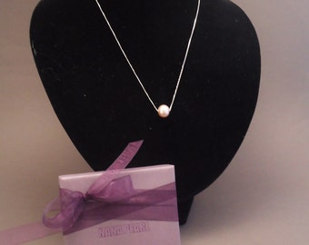 Silver necklace with pink freshwater pearl
