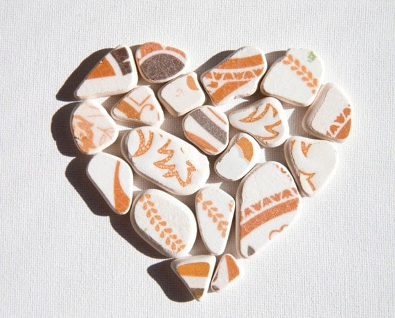 Reserved for Pam, Patterned Matching Sea Pottery,Orange/Brown/White Pottery,Pendant/Ring Sized,SP Jewelry Supplies,Mosaic Craft Supplies
