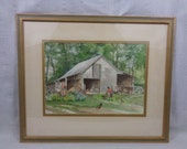 "Original Watercolor Painting, Outdoor ""Barnyard"" Scene"