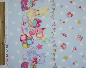 Classical and Modern Japanese Fabric  / Stuffed Animal Oxford Fabric Blue - 50cm x 110cm
