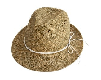 Classic Fedora Straw Hat  , Womens Straw Fedora Hat , Mens Straw Fedora Hat , Sun Hat , Fedora Summer Hat , Wide Brim Hat